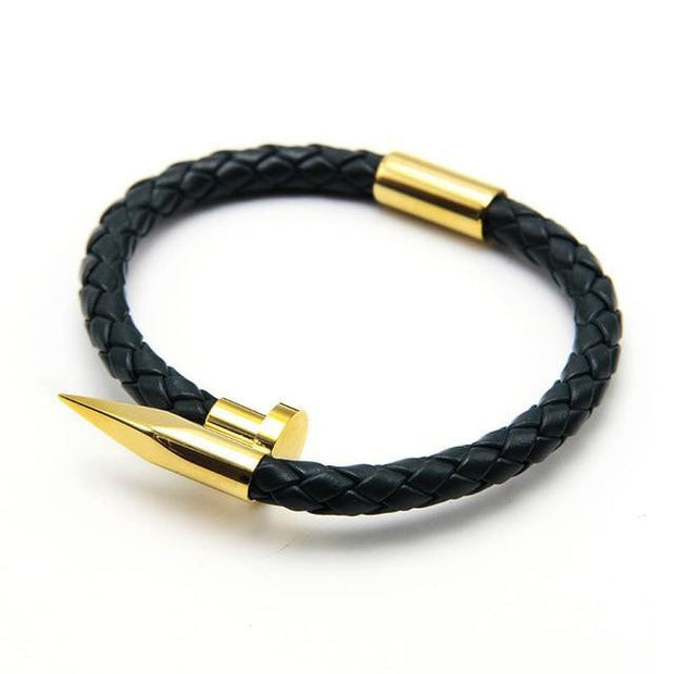Men leather Nail Bracelet