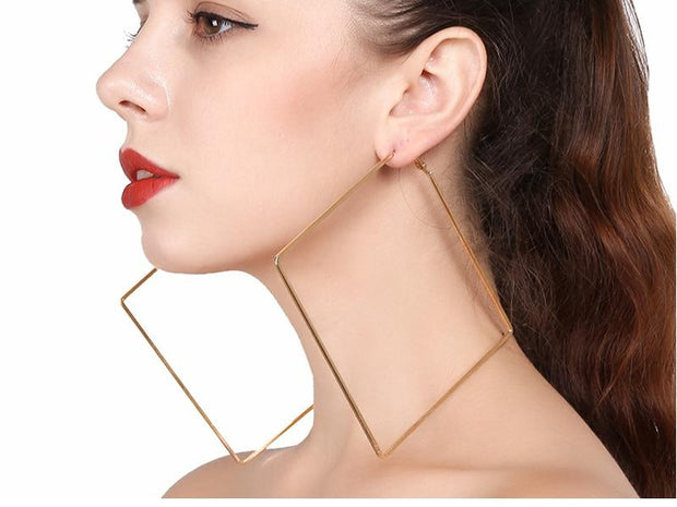 Metal Square Hoop Earrings