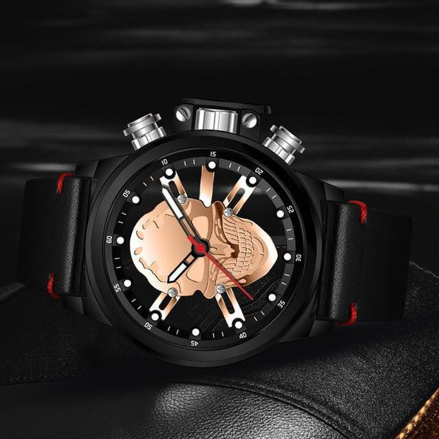 3D Hollow Waterproof Sports Skull Watch