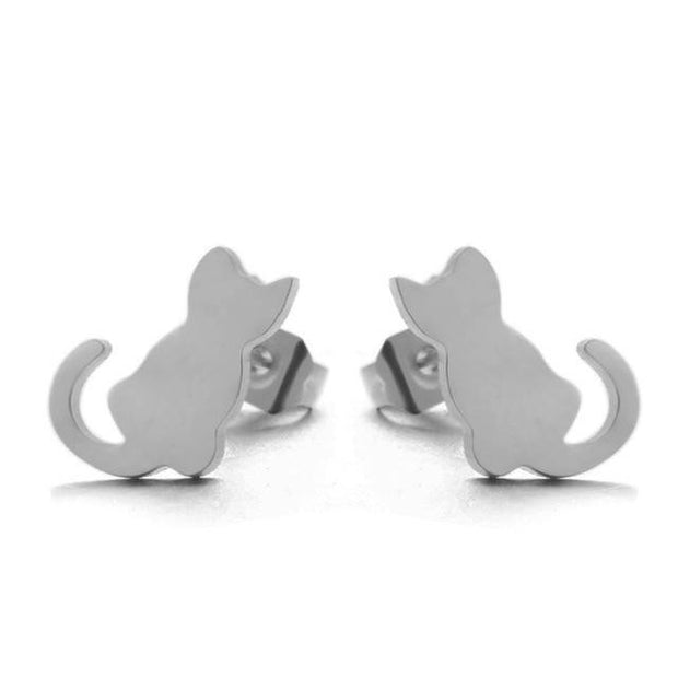 2018 Cute kitten studs Mini Golden Silver Color Stainless Steel Earrings