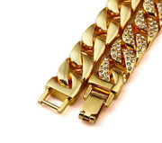 Gold Color Iced Out Miami Cuban Bracelet Men