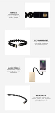 Wearable USB Charging Bracelet Beads