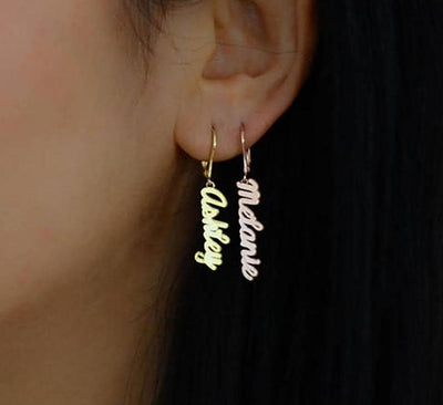 Nameplate Drop Earrings