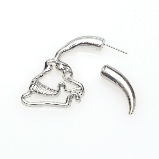 New Design Silver Black Color Skull Stud Earrings