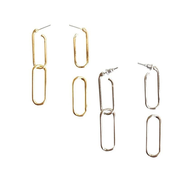 Retro Chain Buckle Earrings