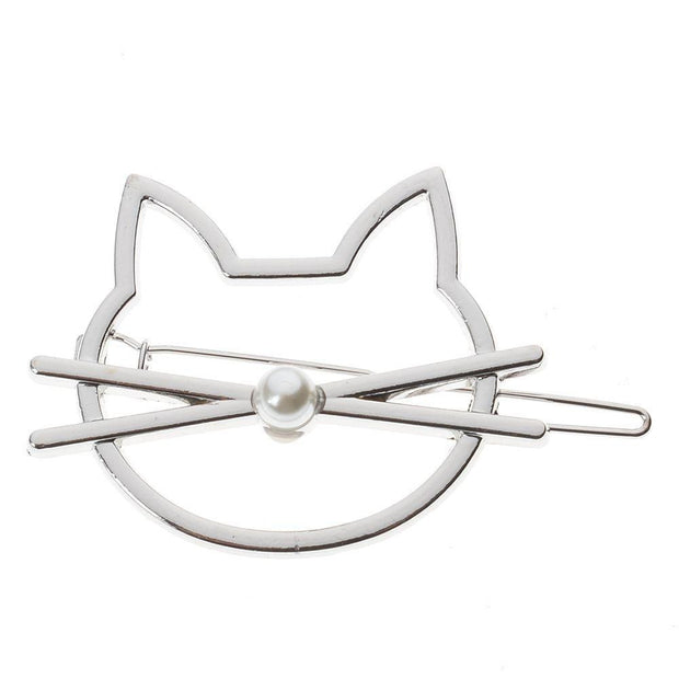 Cute Beauty Crystal Cat Pearl Gold Headwear Hairpin Hair Clip