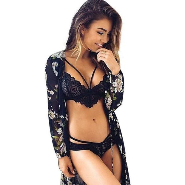 Lace Floral Bra & Push Up underwear