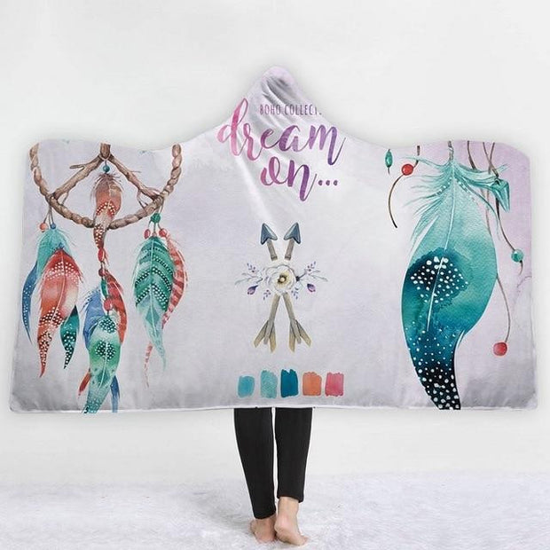 Bohemian Sherpa Fleece Hooded Blanket