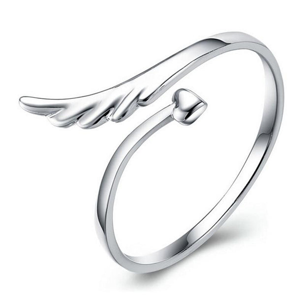 Angel Feather Heart Ring