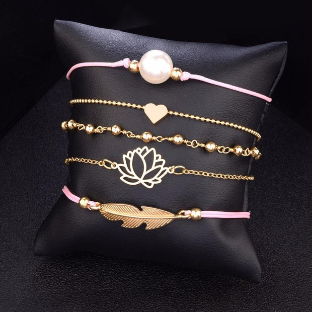 Bohemia Lotus Heart Feather Bracelet Sets