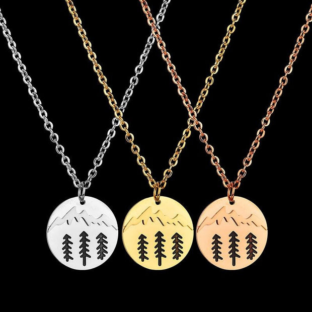 Pine Tree Mountain Round Pendant Necklace