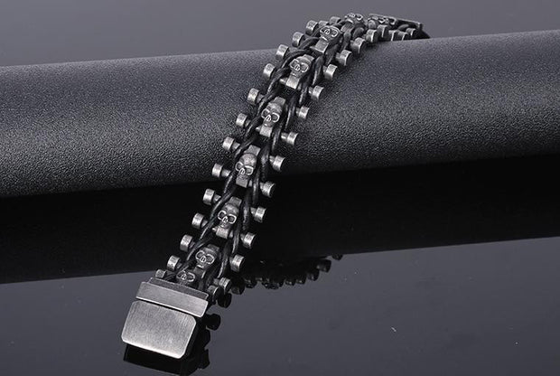 Stainless Steel & Leather Skull Man Bracelet