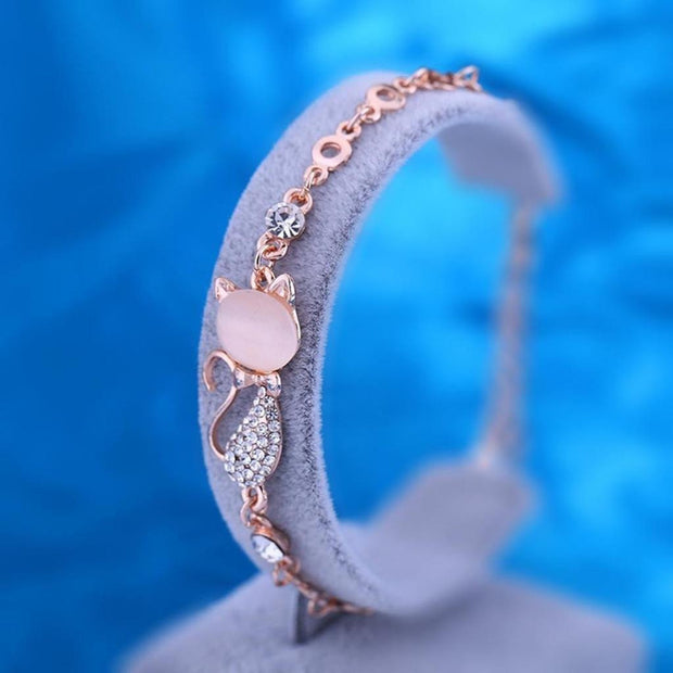 Crystal Opals Rhinestone Bangle Chain Bracelet