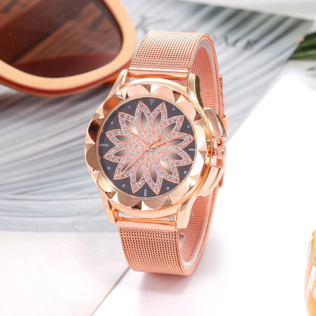 Women Rose Gold Flower Rhinestone Wrist Watch