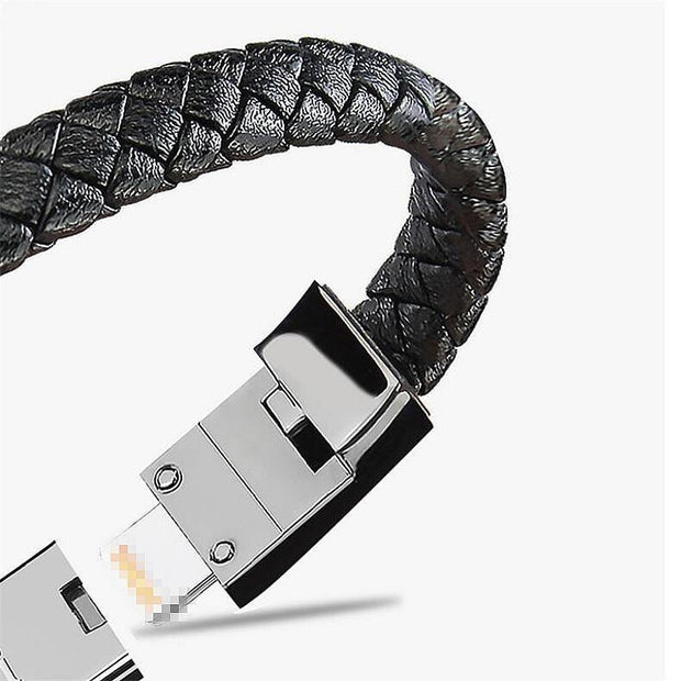 Portable Leather Mini Micro USB Bracelet Charger