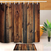 Rustic Wood Brown Waterproof Bathroom Fabric