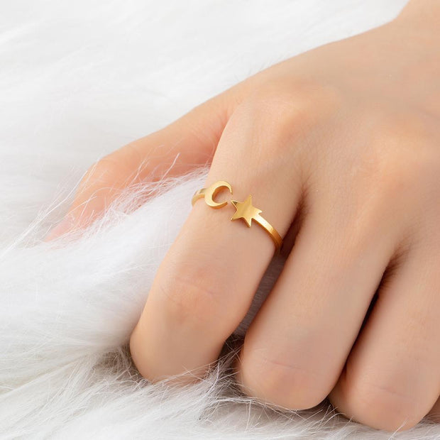 Classic Golden Silver Star Moon Ring