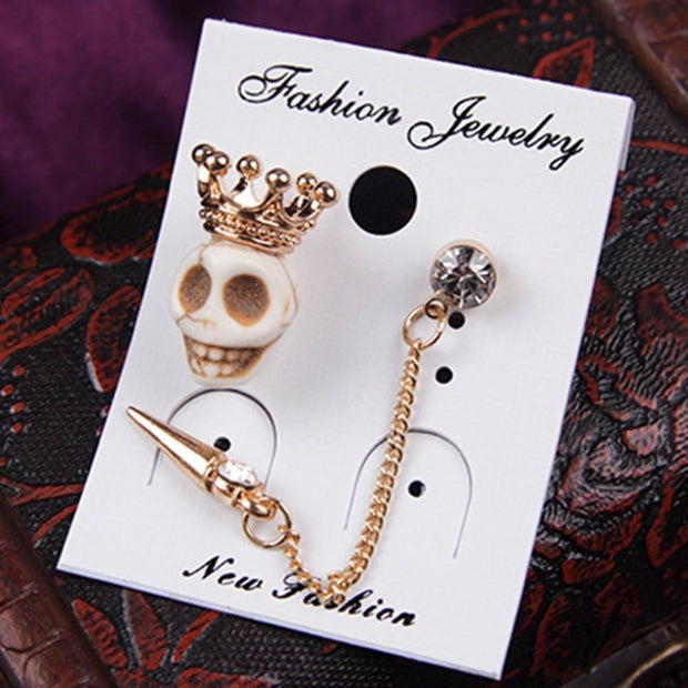 Crown Skull Asymmetric Long Tassel Spike Earrings