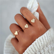 Engraved Letter Heart Rings
