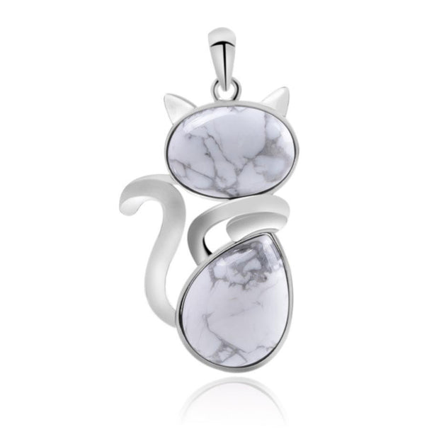 Cute Cat Natural Stone Pendant