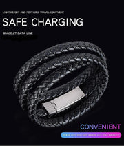 Portable Leather Bracelet Data Charging Cable