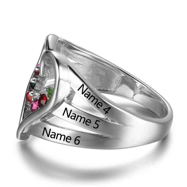 925 Sterling Silver Birthstone Engraved Ring