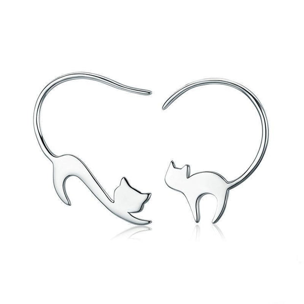 Sterling Silver Cute Napping Little Cat Drop Earrings
