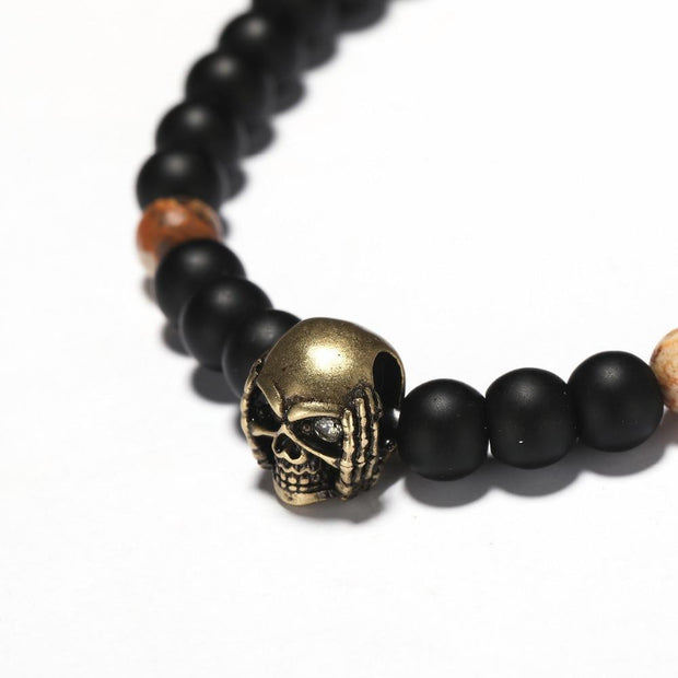 Antique Gold Silver Skull Bracelet