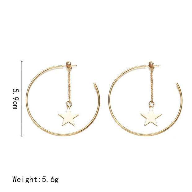 Super Big Circle Star Earrings