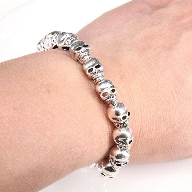 Skull Beads Strand Bracelets for Men and Women