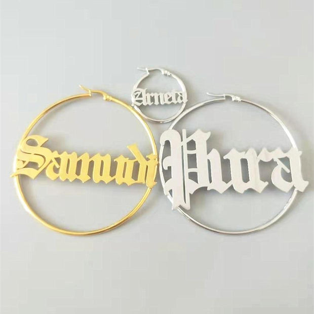 Personalized Name Round Earrings
