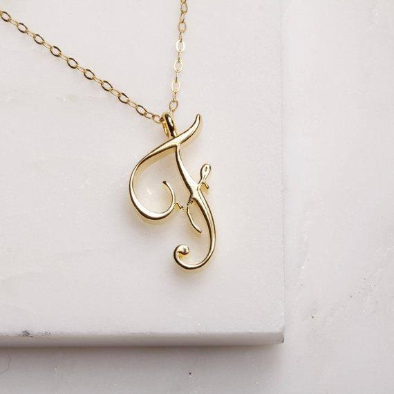 Tiny Swirl Initial Necklace