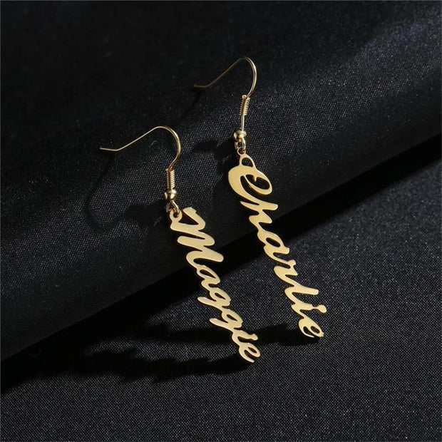 Cursive Nameplate Tassel Earrings