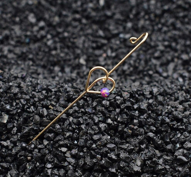 Heart Shape Long Ear Pin