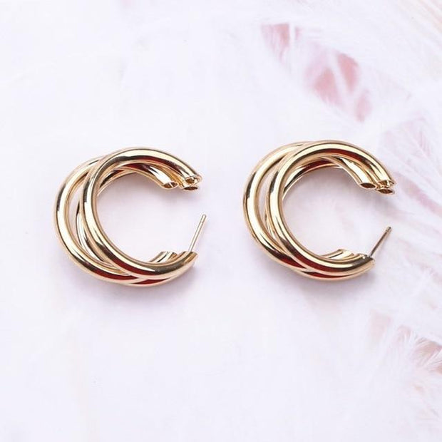 Big Circle Round Drop Earrings
