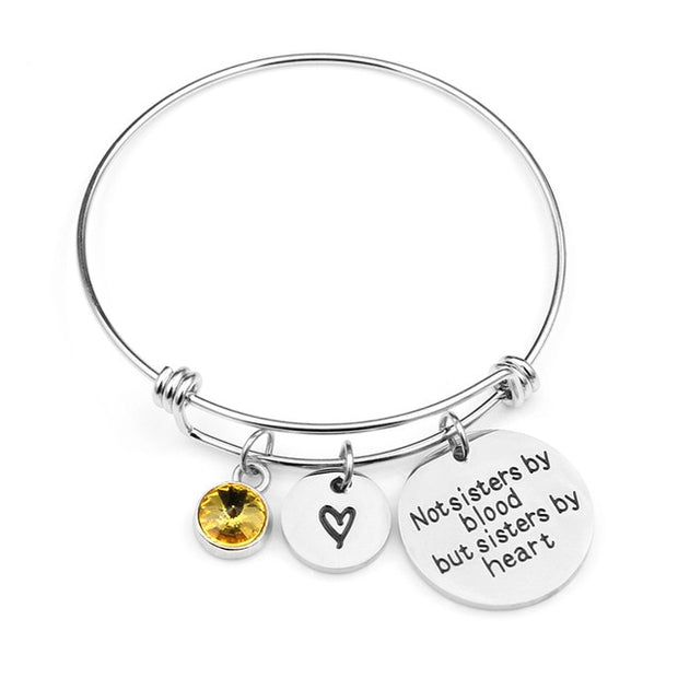 Not sisters by blood but sisters by heart Birthstone Bracelets