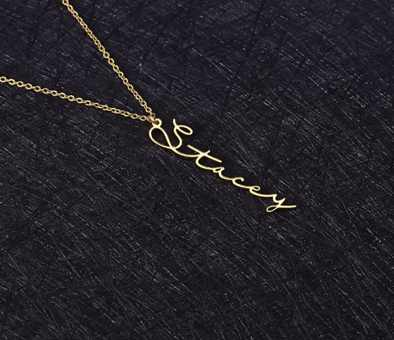 Vertical Handwriting Necklace
