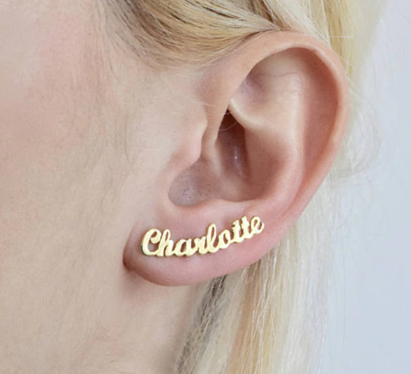 Custom Name Stud Earrings