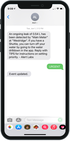 Set priority for events directly from email or text alert.