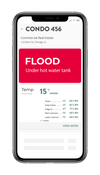 Alert Labs dashboard flood alert on smart phone