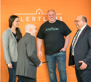 Alert Labs founders meeting the mayor of Kitchener