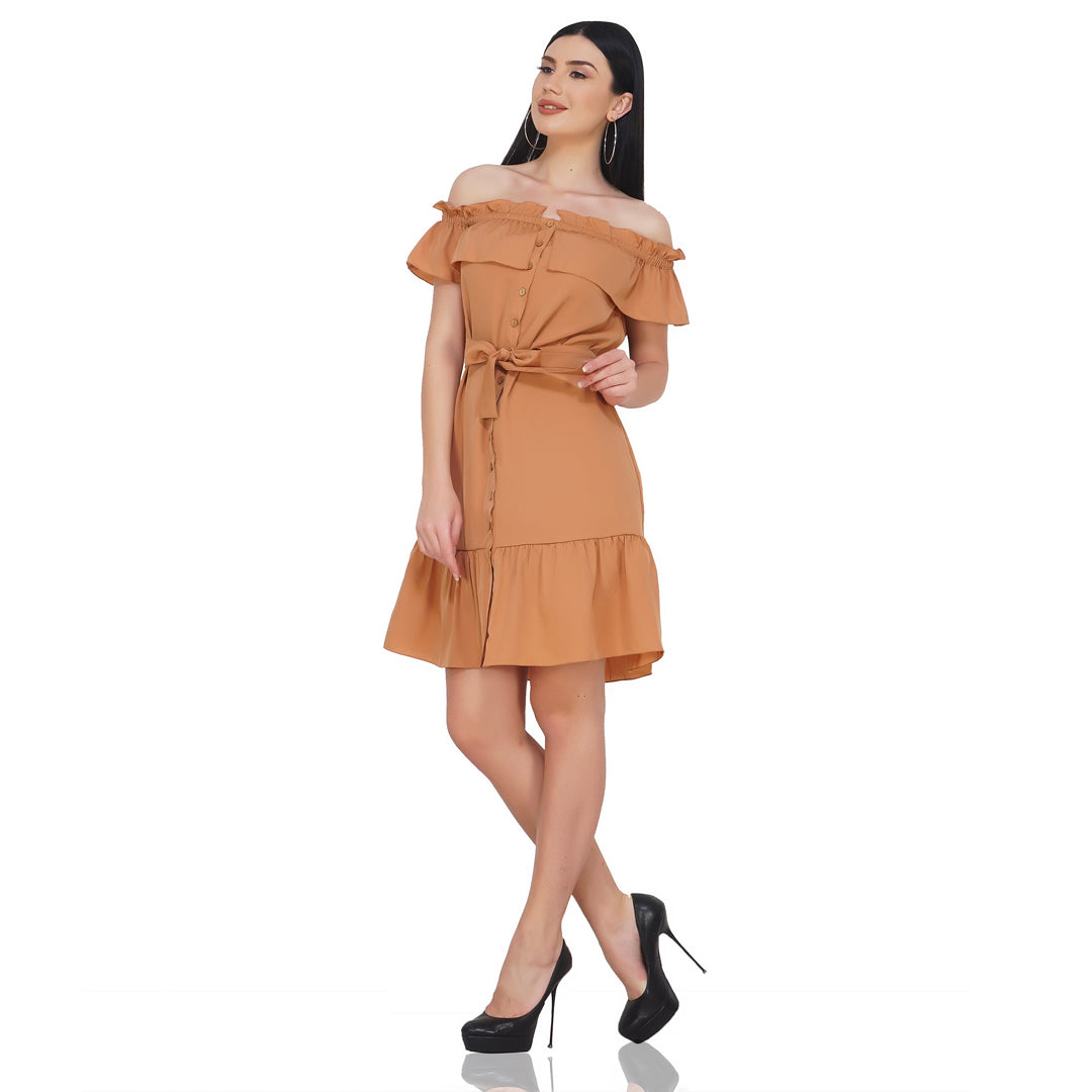 Off Shoulder Nude Frilly Dress