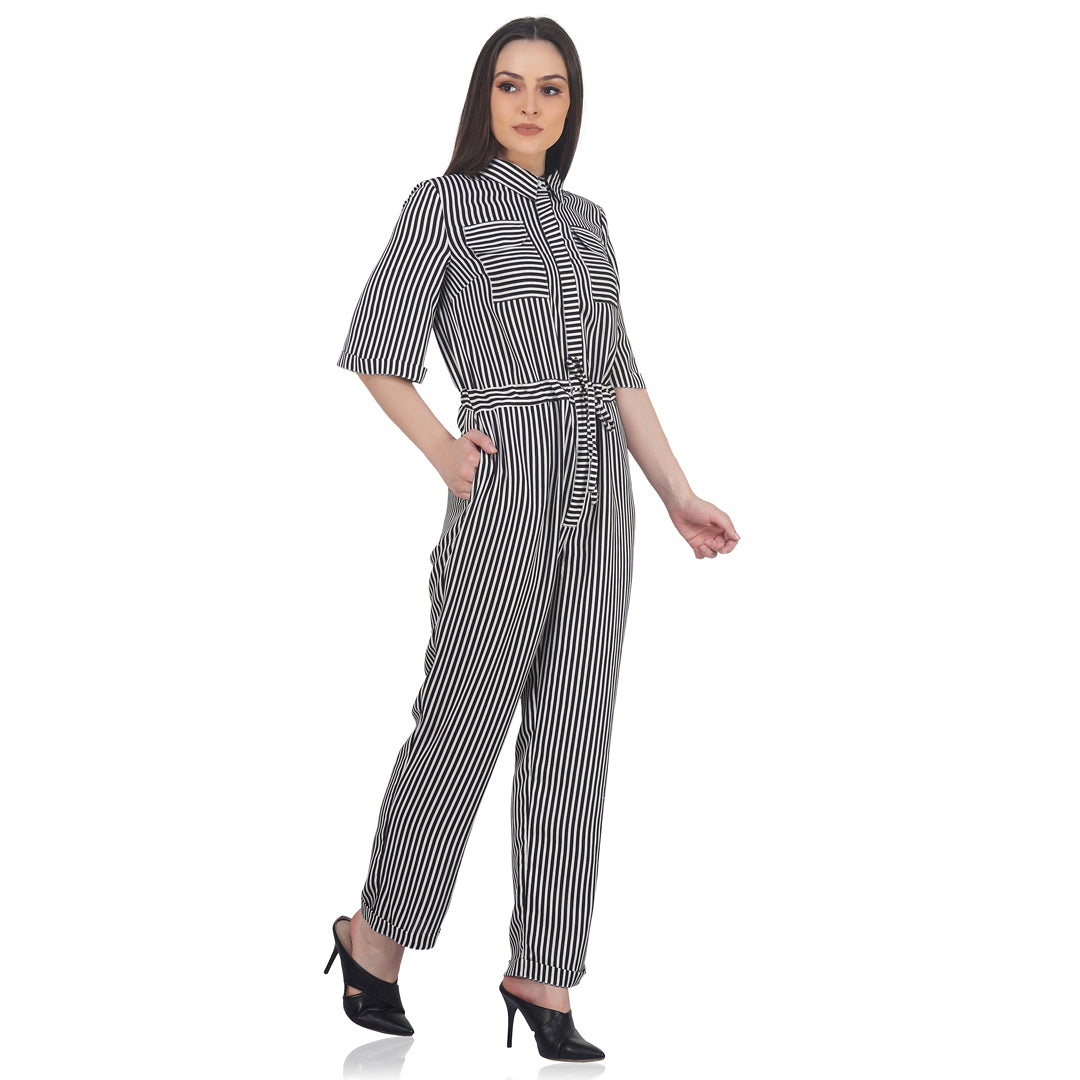 Striped Formal Jumpsuit