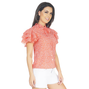 Neck Tie Frilly Top