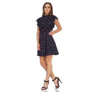 High Neck Floral Frilly Dress