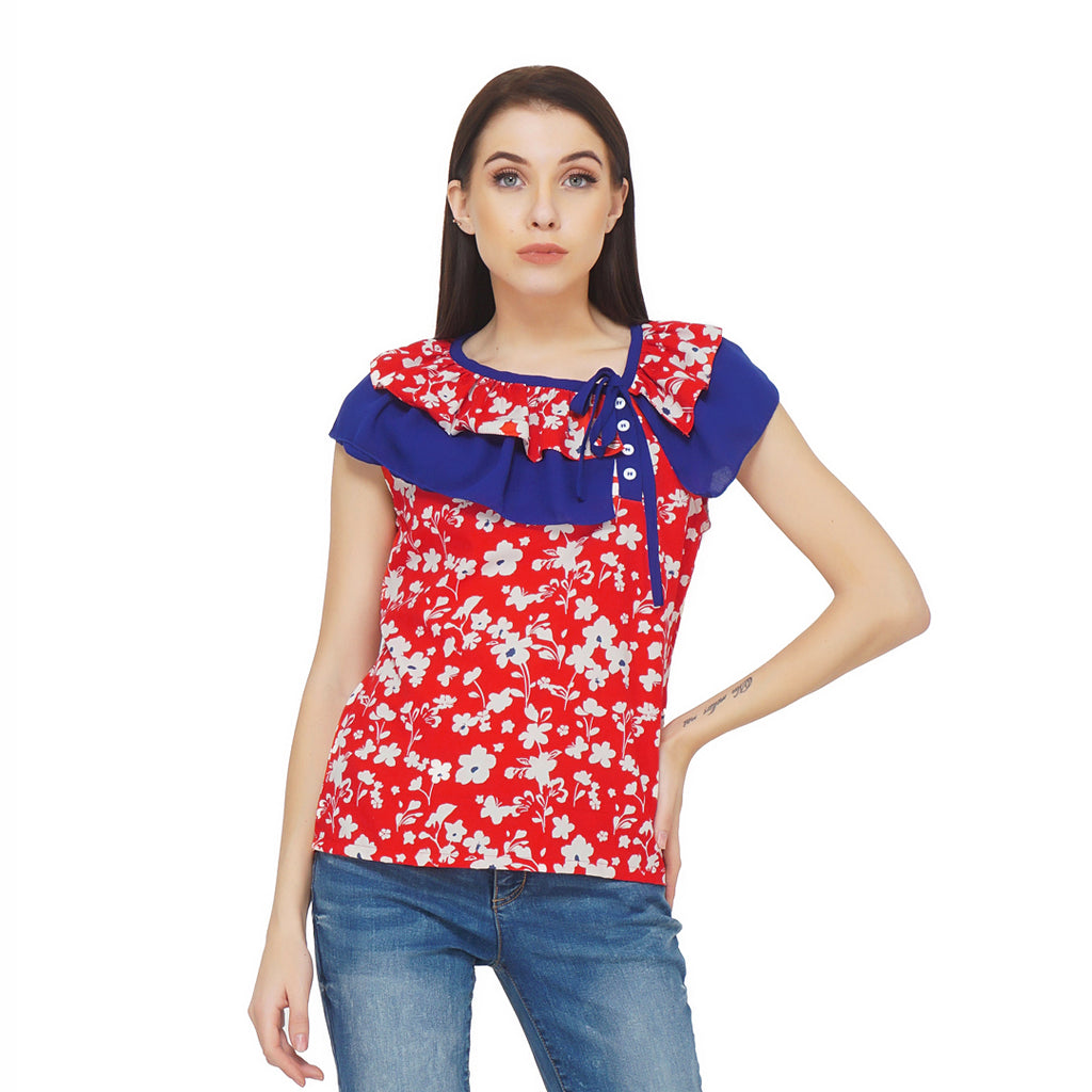 Frilly Tie Up Neckline Top