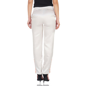 Zipped Lacey Bottom Metallic Pants