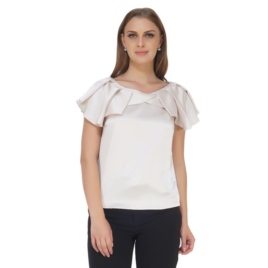 Pleated Neck Metallic Top