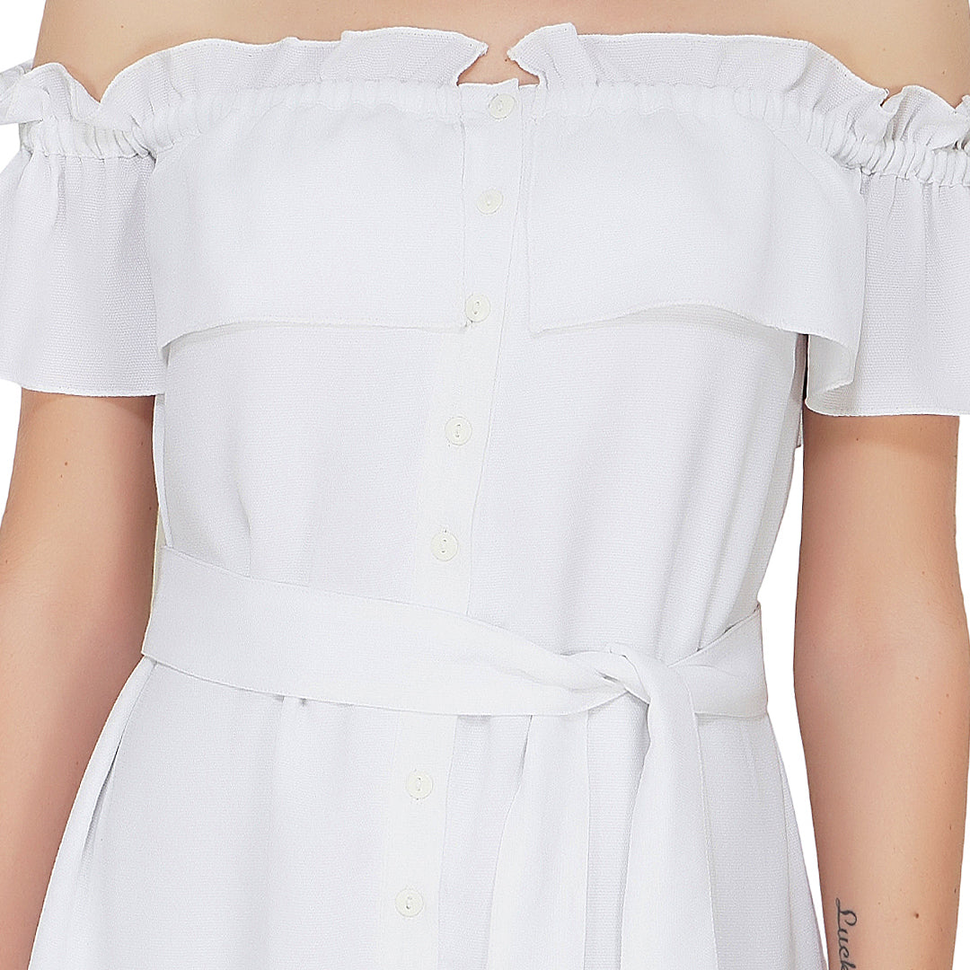 Off Shoulder White Frilly Dress