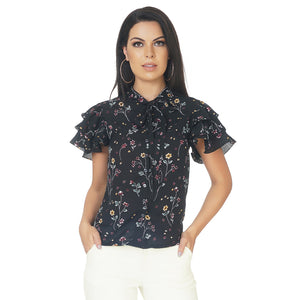 Neck Tie Floral Frilly Top